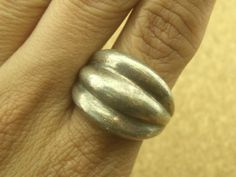 SIZE 7.5 Vintage Taxco Mexico Fluted Dome Sterling Silver Ring  Heavy 14.8g #BandCluster