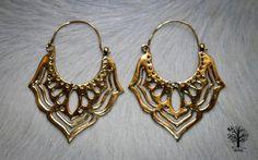 Large Brass Lotus Hoop Earrings, Tribal Earrings, Brass Hoop Earrings, Indian Brass Earrings, Ethnic Jewelry, Bohemian Earrings