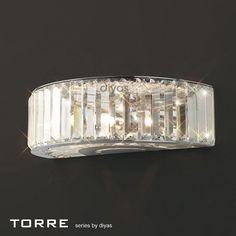 Torre Crystal Wall Light - Wall Lights - Lighting - Home Decor Crystal Wall, Crystal Decor, Crystal Pendant, Ceiling Light Fittings, Art Deco Mirror, Wall Lights, Ceiling Lights, Exterior Lighting, Polished Chrome