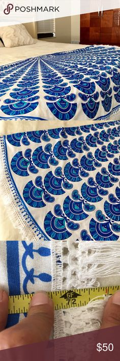 """Chic Blue and White Round Mandala Tapestry One of many designs, this bright blue round stunner is PERFECT for the beach, your bed, your dining room table, etc. measures at 72"""". 100"""" Bengali Cotton. Other"""