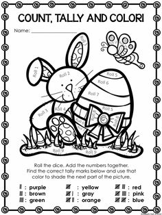 FREE Easter count, tally and color activity. In US and Australian versions. #Easter #kindergarten #counting #tally