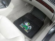 FANMATS 8749 University of Notre Dame Fighting Irish Front Heavy Duty Vinyl Car Mat - 2 Pieces by Fanmats. $19.06. Available in all NFL, MLB, NBA and top NCAA teams. Raised outer rim and multi-level channels. Premium all-weather floor protection. Universal fit for cars, trucks and SUVs (16.75-inch x 26.75-inch). Constructed from 100 percent heavy duty vinyl. Don't leave your school spirit at home; take it on the road with the NCAA® heavy-duty vinyl car mats from F...