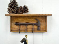 Rustic Wooden Key Rack Hammer by AlpineCraftworks on Etsy