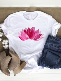 Now 10% OFF ! The lotus flower is a symbol of enlightenment, renewal, transformation and a new beginning.  The lotus flower symbolizes spiritual enlightenment and an almost unlimited potential.  In everyday life you can remember with this T-Shirt how incredibly strong you are, that you can always reinvent yourself according to your own wishes, and you can show how much love & creative genius you have. Spiritual Symbols, Spiritual Enlightenment, Pink Lotus, Lotus Flower, Teen Girl Fashion, Latest T Shirt, Pink Blossom, Love Symbols, Sustainable Fashion