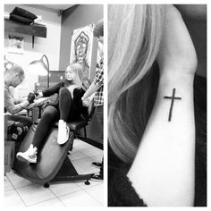 """First tattoo: cross on the side of my wrist with my dad's ashes in the ink."" Beautiful.---- this is beyond amazing wish i could have done this"