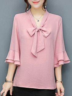 Buy Tie Collar Bowknot Plain Bell Sleeve Blouse online with cheap prices and dis. Mode Abaya, Mode Hijab, Hijab Fashion, Fashion Dresses, Fashion Blouses, Bell Sleeve Blouse, Bell Sleeves, Blouse Styles, Blouse Designs