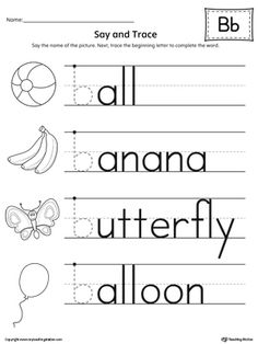 **FREE** Say and Trace: Letter B Beginning Sound Words Worksheet. Use this worksheet to help your preschooler or kindergartener practice recognizing the beginning sound of the letter B and trace the letter.