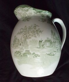 Green Transferware Ironstone Antique 6 qt. Pitcher