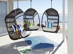 Pair a hippy, happy and fun Swingasan® with bold pillows for a modern coastal look. I want this!