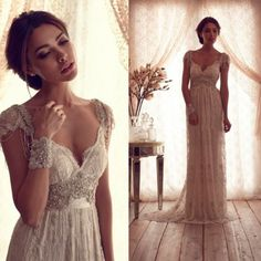 Hot Salling Vestido De Novia 2016  Vintage Wedding Dress Sheer Lace Anna Campbell  Bridal Gown Lace Backless Church Wedding Gown-in Wedding Dresses from Weddings & Events on Aliexpress.com | Alibaba Group