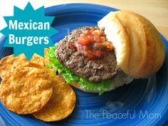 Delish Mexican Burgers Recipe--The Peaceful Mom Burger Recipes, Grilling Recipes, Mexican Food Recipes, Cooking Recipes, Ethnic Recipes, Gluten Free Buns, Gluten Free Recipes, Healthy Recipes, Mexican Burger
