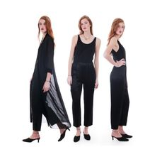 90s vintage black jumpsuit.  Casual, yet sexy fit.  Tank top silhouette.  Darts at bodice.  Gathered elastic waistline.  Front and back pleated pants.  Roomy pant legs, taper at ankle.  Top is very thin, matte black, stretchy.  Pants are lightweight, shiny, no stretch.  Back zipper.  Unlined.  No holes or stains.  Clean and ready to wear.  In great vintage condition, lightly worn, no damage. Click ZOOM on desktop or tap image on app to enlarge photos    Brand:...