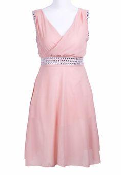 Pink Rhinestone Chiffon Dress.  Cute dress to wear as a guest to an outdoor garden wedding.
