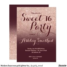 Modern faux rose gold glitter burgundy Sweet 16 Card