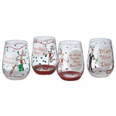 This playful wavy stemmed Christmas wine glass is a fun way to ...