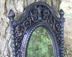 Black Scrolly Oval Ornate Wall Mirror Vintage Goth Home Decor