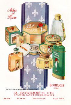 "Bourjois ""Ashes of Roses"" Bourjois Perfume, Perfume Ad, Perfume Scents, Cosmetics & Perfume, Vintage Perfume, Perfume Bottles, Fragrance, Vintage Makeup Ads, Vintage Beauty"