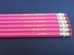 Write your vision and make it plain with these inspirational pencils.  Pencils are available with the following sayings:  Be You  You Got This  Believe in Yourself  Follow Your Dreams  Do What Makes You Happy  Perfectly Imperphect