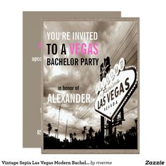 Vintage Sepia Las Vegas Modern Bachelor Party Card