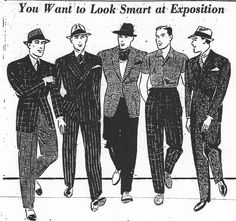 Hey - going to the world exposition and want to go mid-late 30's style - here's your style guide.    Love the short sleeved shirt and the checked with vest - not the mix and max - and in NYC the boys think it's new.....  ;-)  Google Image Result for http://csudigitalhumanities.org/exhibits/archive/fullsize/male-clothing-column_dfc4e29ce0.jpg