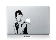 Audrey Hepburn- Mac Decal Macbook Stickers Macbook Decals Apple Sticker for Macbook Pro / Macbook Air / iPad / / New iPad / iPhone 4 Macbook Air, Apple Laptop Macbook, Macbook 15 Inch, Macbook Decal Stickers, Mac Decals, New Macbook, Laptop Decal, Vinyl Decals, Mac Laptop