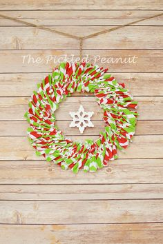 Christmas Wreath rag tie wreath shabby chic by ThePickledPeanut, $35.00
