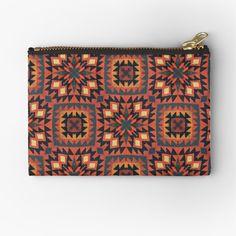 Persian Pattern, Brick Design, Red Bricks, Himalayan, Ferns, Zipper Pouch, Nepal, Navajo, Kilim Rugs