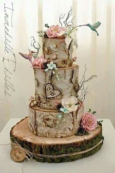 wedding cakes country Hummingbird and Flower Birc Tree Themed Wedding Cakes for Fallho . Pretty Wedding Cakes, Black Wedding Cakes, Wedding Cake Rustic, Beautiful Wedding Cakes, Wedding Cake Designs, Wedding Cake Toppers, Rustic Cake, Rustic Birthday Cake, Country Wedding Cakes