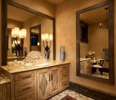 rustic bathroom vanity design ideas with big mirror