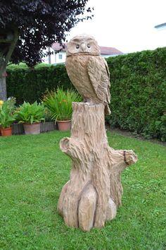 holzeule holz eule eulenbank owlbench kettensäge wood carver, Gartenbeit