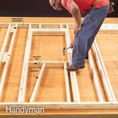 Fool-Proof Wall Framing Tips for New Construction WALL FRAME. Supports the ceiling, upper floor levels, roof. And serves as a nailing base for the finish wall. Wall framing is very important in building a home. Building A Shed, Building Plans, Building Ideas, Woodworking Plans, Woodworking Projects, Framing Construction, Diy Shed, Shed Storage, Home Repairs