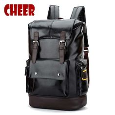 bcb946cb12cd New backpack high quality PU leather backpack shoulder bag School bag  computer Travel bag men women
