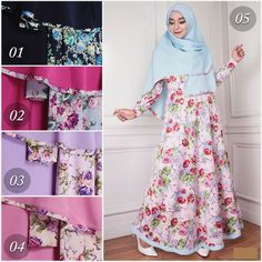 Baju Gamis Syari Jersey motif Bunga G1078 cantik edisi november 2016