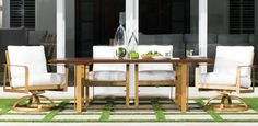 """SOLARIS CUSHION DINING   Finish- Sun Gold- SG, Fabric- Sailcloth Salt-  G6C, Dining Chair- 7606R, Swivel Rocker- 7607R, 44"""" x 84"""" Rectangular  Dining Table- HRDK84, Table Top Smooth Aluminum- SA, Two Tone Brushed  Mahogony with Dark Rum- W2"""