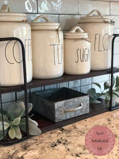 Rae Dunn OG Canisters I love my Rae Dunn collection and this original canister set will always be at the heart of my farm Farmhouse Kitchen Canisters, Kitchen Canister Sets, Small Kitchen Pantry, Kitchen Pantry Cabinets, Home Decor Kitchen, Kitchen Ideas, Kitchen Design, Organizer, Cool Kitchens
