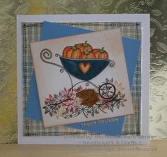 Autumn Pumpkins Card made using Inky Doodles Country Checks, Woodland Walk and Autumn Garden Stamp Sets