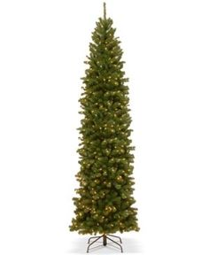 National Tree Company 10' North Valley Spruce Pencil Slim Tree With 550 Clear Lights - Green