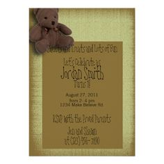 Yellow Teddy Bear 1st Birthday Party Invitation