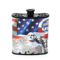 Red, White and Blue Patriotic USA Hip Plastic Flask 7 oz - Mount Rushmore