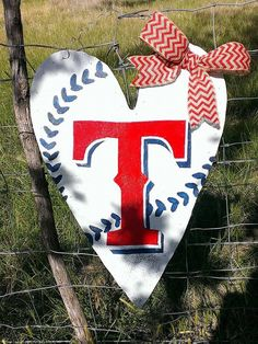 Texas Rangers Heart Shaped Door Hanger Wreath on Etsy, $50.00