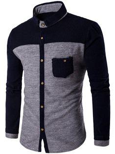 Two Tone Pocket Design Corduroy Shirt