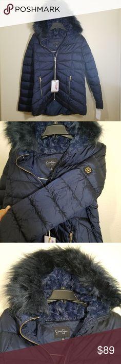 82de84bff7520 NWT Jessica Simpson Faux Fur Hooded Jacket This Indigo colored Jessica  Simpson jacket is super cute