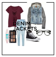 """denim jacket"" by carleelingard on Polyvore featuring City Chic, Converse, Maybelline, NARS Cosmetics, denimjackets, WardrobeStaples and plus size clothing"