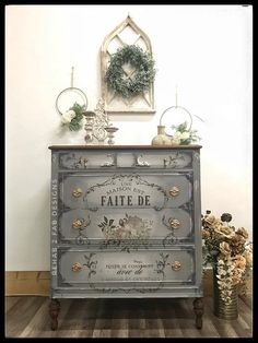 This antique chest was hand painted in Wise Owl Paint in colors Smokey Quartz and Snow Owl. A ReDesign With Prima transfer in L'Amour Et Des Reves was applied and it blends beautifully with this pa… Decoupage Furniture, Chalk Paint Furniture, Hand Painted Furniture, Refurbished Furniture, Repurposed Furniture, Shabby Chic Furniture, Furniture Projects, Furniture Makeover, Diy Furniture