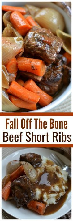 Fall off the bone Beef Short Ribs perfect for the holiday or Thanksgiving dinner! This easy recipe slow cooks perfectly seasoned beef short ribs, carrots, and onions in a broth that turns into an awesome gravy. Save this holiday main course! Crock Pot Recipes, Rib Recipes, Slow Cooker Recipes, Cooking Recipes, Slow Cooking, Recipies, Kale Recipes, Cooking Tips, Beef Dishes