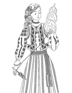 Russian Folk Art, Ukrainian Art, Cool Coloring Pages, Coloring Books, Traditional Art, Traditional Outfits, Dress Sewing Tutorials, Classroom Fun, Medan