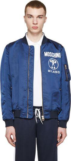 Moschino Navy Logo Bomber Jacket