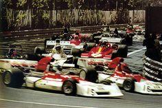Spanish Grand Prix, Montjuich 1973, Beltoise (BRM), Lauda (BRM), Fittipaldi (Lotus), Revson (McLaren) Ickx (Ferrari)...
