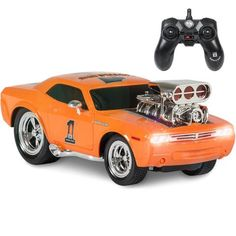 Best Choice Products 2.4 GHz Remote Control Drag Race Supercharger Muscle Car RC Lights Sounds USB Charger - Orange