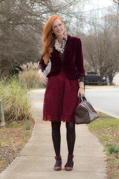 Turning Heads Linkup- Valentine's Day Look with Velvet and Lace - Elegantly Dressed & Stylish - Over 40 Fashion Blog